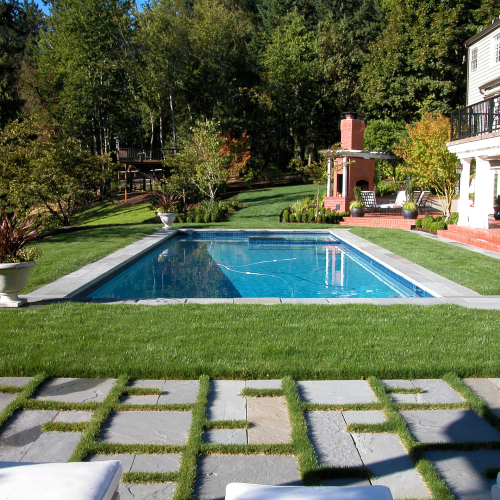 pool with bluestone